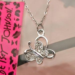 Betsey Johnson Silver Butterfly Necklace